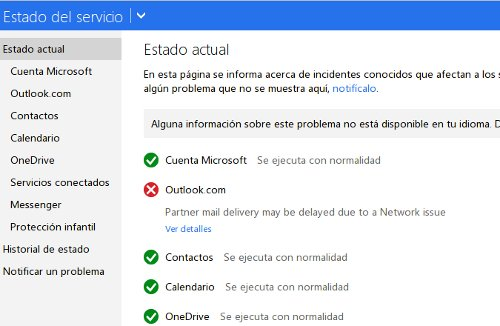 estado del servicio outlook