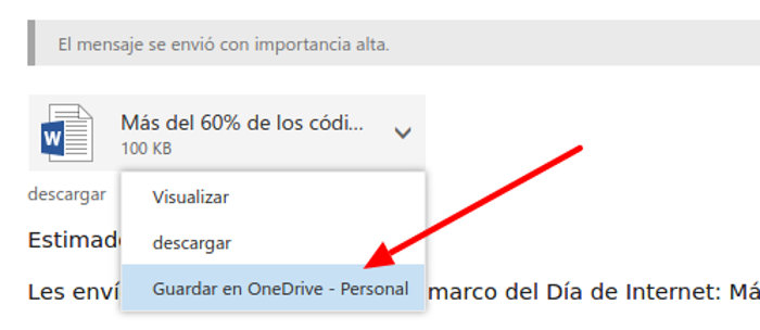 adjunto outlook guardando en onedrive