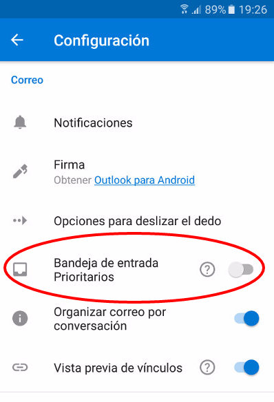 desactivando prioritarios en app de outlook